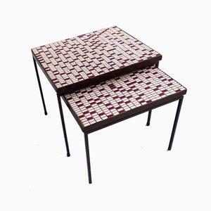 Beistelltische mit Mosaikplatte, 1950er, 2er Set