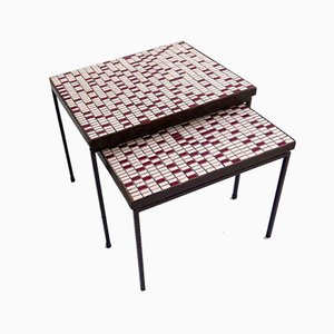 Mosaic Top Side Tables, 1950s, Set of 2