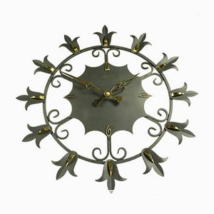 Wrought Iron and Brass Electric Wall Clock from Atlanta, 1960s