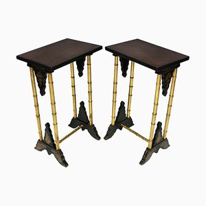 Antique English Wine Tables, Set of 2