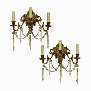 Antike Französische Wandleuchten aus Vergoldeter Bronze und Geschliffenem Glas, 2er Set