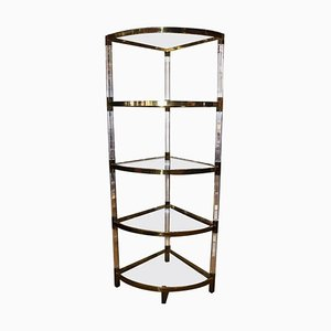 Vintage Italian Angular Shelving in Plexiglass and Brass