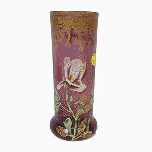 Antique Enameled Glass Vase, 1900s