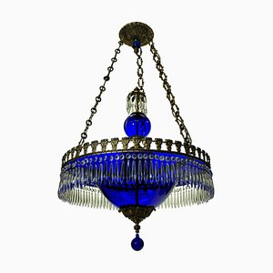 Vintage Blue Glass Chandelier