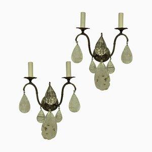 Französische Mid-Century Kristallglas Wandlampen, 2er Set