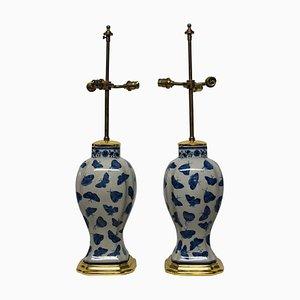 Antike Chinesische Schmetterlings Tischlampen, 2er Set