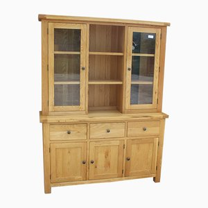 Country Oak 3-Door Dresser with Display Cabinet, 1980s