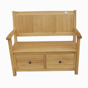 Modern Light Oak 2-Drawer Settle, 1980s