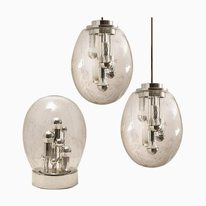 Space Age Chrome Sputnik Oval Light Fixtures by Doria Leuchten Germany, 1970s, Set of 2