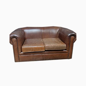 Vintage Distressed Brown Leather Sofa