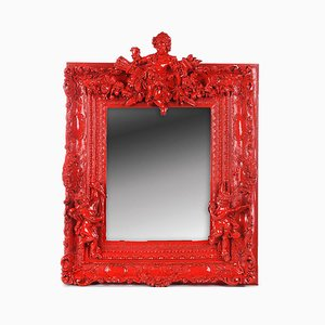 Red Lacquered Resin Mirror, 1970s