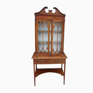 Mahogany 2-Door Glazed Cabinet on Stand, 1930s