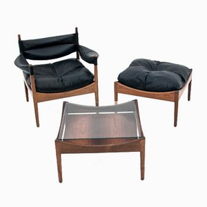 Rosewood Armchair, Footstool, and Table Set by Kristian Vedel for Søren Willadsen Møbelfabrik, 1963