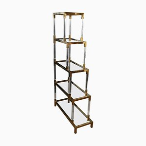 Vintage Italian Bookcase Étagère with Shelves in Plexiglass and Brass