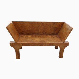 Small Solid Burr Walnut Bench, 1980s