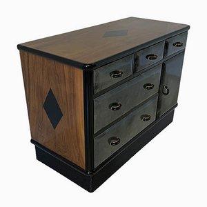 Art Deco Parchment and Walnut Cabinet, 1940s