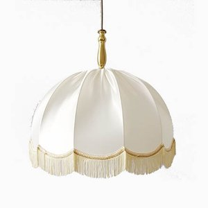Vintage German Fabric Pendant Lamp with Fringes from Aaro, 1970s