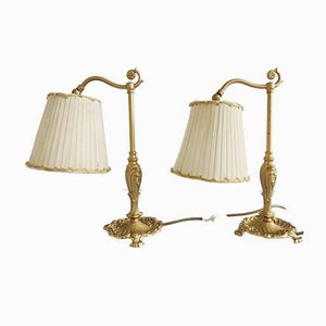 Table Lamps with Fabric Shades, 1960s, Set of 2