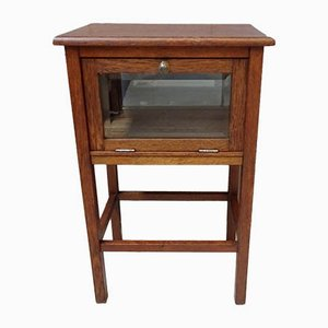 Art Deco Oak and Cut Glass Console Table with Drawer