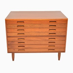 Vintage Mahogany Architects Plan Chest of Drawers, 1970s