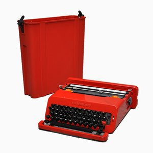 Mid-Century Italian Red Valentine Typewriter by Ettore Sottsass & Perry King for Olivetti Synthesis, 1960s
