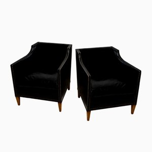 Vintage Swedish Black Leather Club Chairs, Set of 2