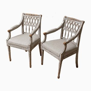 19th Century Swedish Painted Armchairs, Set of 2