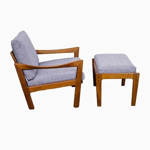 Danish Teak Lounge Chair and Ottoman by Illum Wikkelsø for Niels Eilersen, 1960s, Set of 2