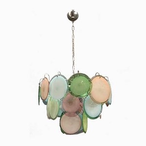 Multicolored Murano Glass Disc Chandelier by Gino Vistosi, 1970s