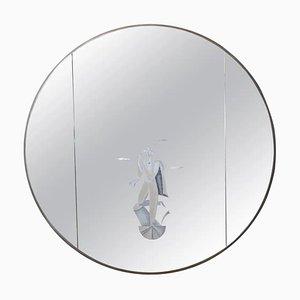 Italienischer Runder Mid-Century Spiegel im Serigraphie-Stil von BBPR Architects 'Studio, 1960er