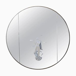 Mid-Century Italian Round Serigraphed Mirror by BBPR Architects' Studio, 1960s