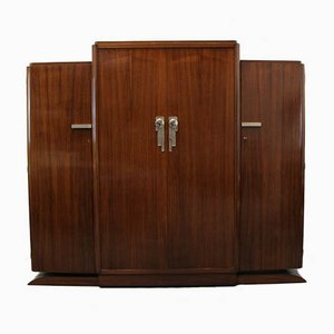 Large Art Deco French Rosewood Wardrobe, 1930s