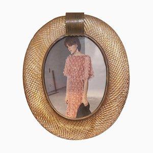 Cadre Ovale Vintage en Verre Murano de Barovier & Toso, Italie, 1980s
