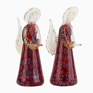 Murano Glass and Gold Dust Angel Figurines from Fratelli Toso, 1960s, Set of 2