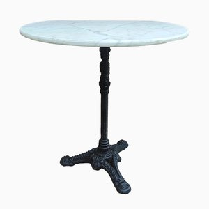 Mid-Century Cast Iron Balcony Table with Marble Top