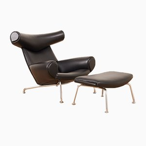 Mid-Century Tubular Steel and Black Leather Model AP-46 Ox Lounge Chair and Ottoman Set by Hans J. Wegner for AP Stoelen, 1960s