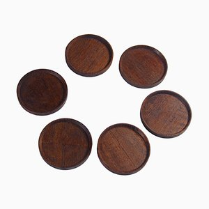 Teak Coasters by Laurids Lonborg, 1960s, Set of 6