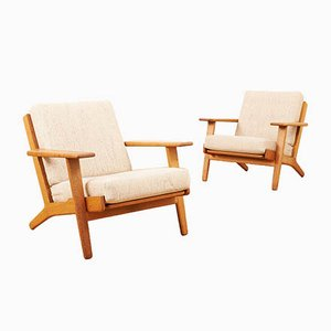 Mid-Century Oak Model GE-90 Plank Lounge Chairs by Hans J. Wegner for Getama, 1950s, Set of 2