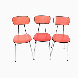 Chaises d'Appoint en Tuyaux d'Acier, 1950s, Set de 3