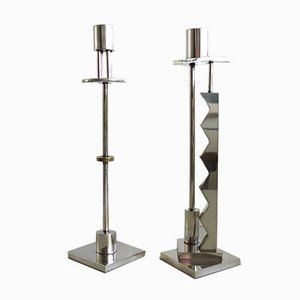 Silver Plate and Brass Candleholders by Ettore Sottsass for Swid Powell, 1980s, Set of 2