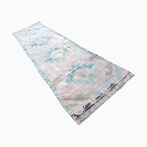 Distressed Faded Colors Oushak Runner Rug, 1970s