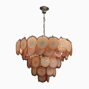 Large Murano Glass Disc Chandelier Attributed to Vistosi, 1970s