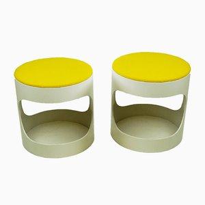 Deutscher Hocker in Gelb & Weiß von Opal Möbel, 1970er, 2er Set