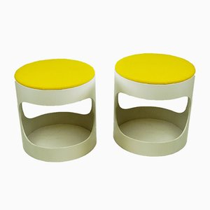 German White and Yellow Plywood Stools from Opal Möbel, 1970s, Set of 2