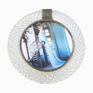 Runder italienischer Vintage Bilderrahmen aus Muranoglas von Barovier & Toso, 1980er