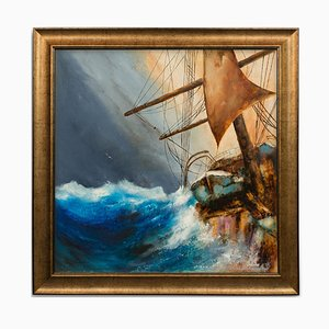 Square Marine Oil Painting from David Chambers, 1990s