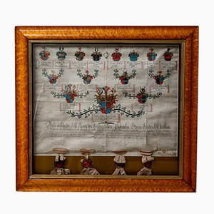 Antique German Glass Framed Heraldic History, 1800s