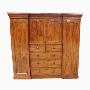 Antique Mahogany Inverted Breakfront Compactum Wardrobe, 1900s