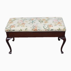 Floral Upholstered Mahogany Duet Stool with Storage, 1920s