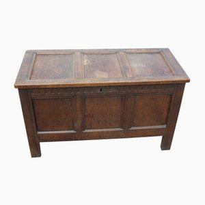 Oak Coffer with Panels and Candle Box Inside, 1880s